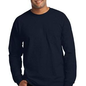 Gildan 2410-Ultra Cotton ® 100% Cotton Long Sleeve T Shirt with Pocket Thumbnail